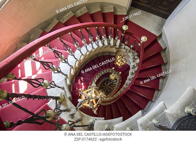 DUINO ITALY ON AUGUST 18, 2018: Staircase in Duino castle Duino-Aurisina, Friuli-Venecia Julia in Trieste Italy