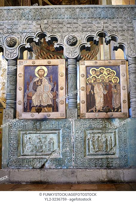 Pictures & images of the interior Iconostasis screen and icons. The Eastern Orthodox Georgian Svetitskhoveli Cathedral (Cathedral of the Living Pillar)