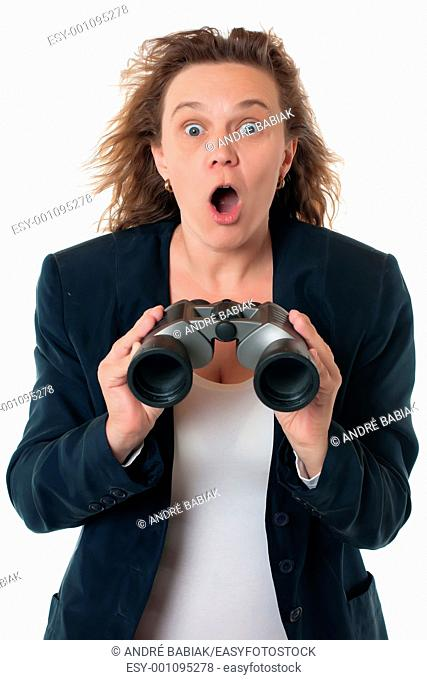 A woman in business attire with binoculars, shocked and outraged