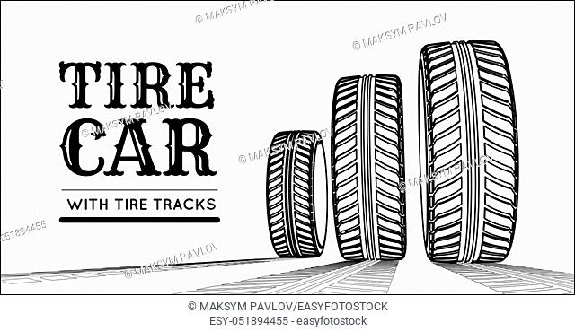 Car tire with tire marks on a white background. Vector stylized illustration for hand-drawn