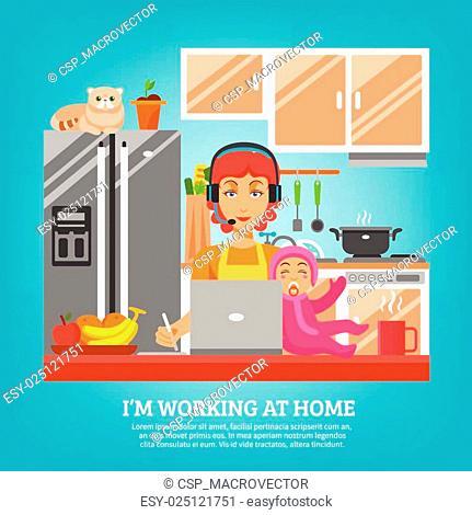 Housewife Design Concept At Kitchen Interior