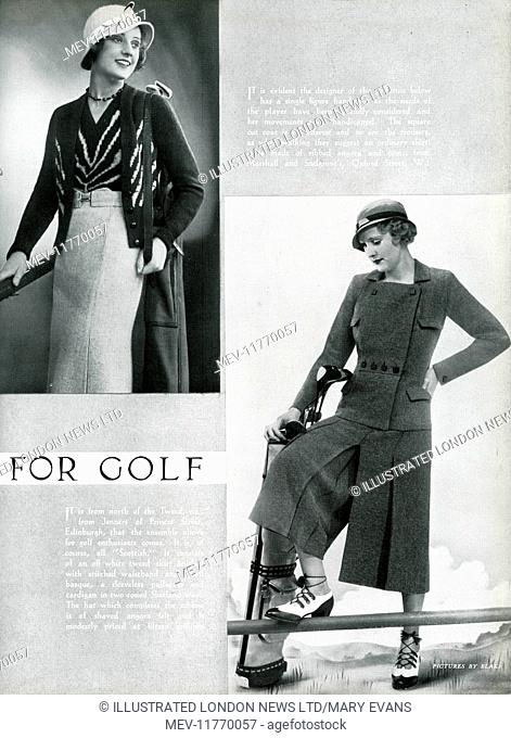 Two models wearing clothes suitable for a game of golf