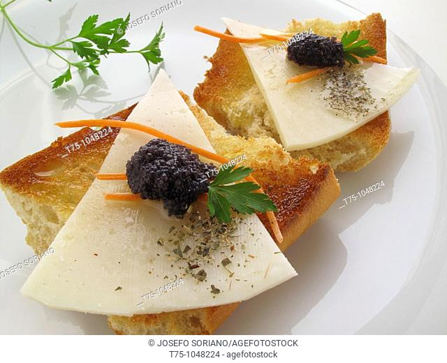 Toast with cheese and roe Lumpfish