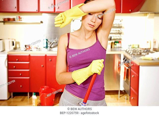 Woman Cleaning Kitchen Stock Photo Picture And Rights Managed Image Pic Bep 1220759 Agefotostock