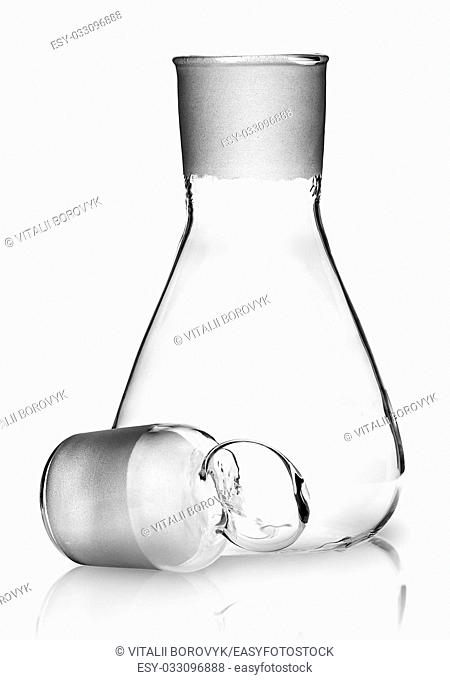 Laboratory flask with ground glass stopper near isolated on white background