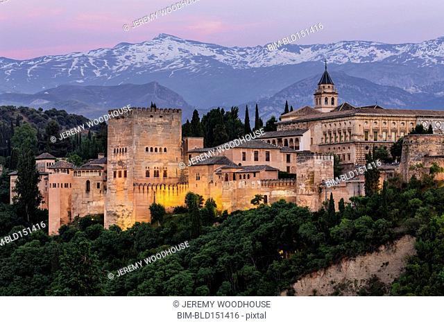 Castle on hilltop, Granada, Andalusia, Spain