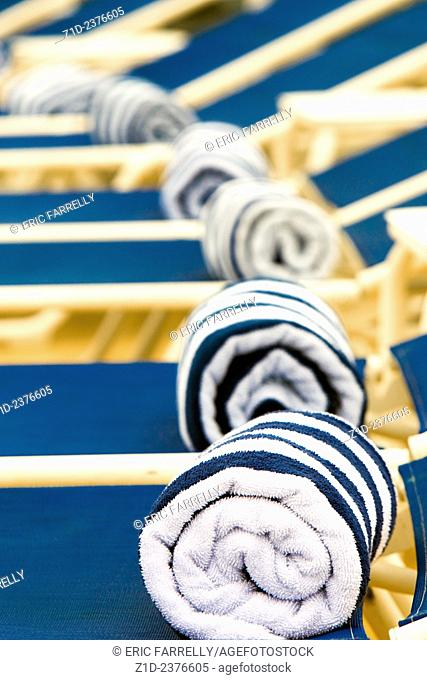 Available pool side towels for Passengers. Cunard's Queen Victoria