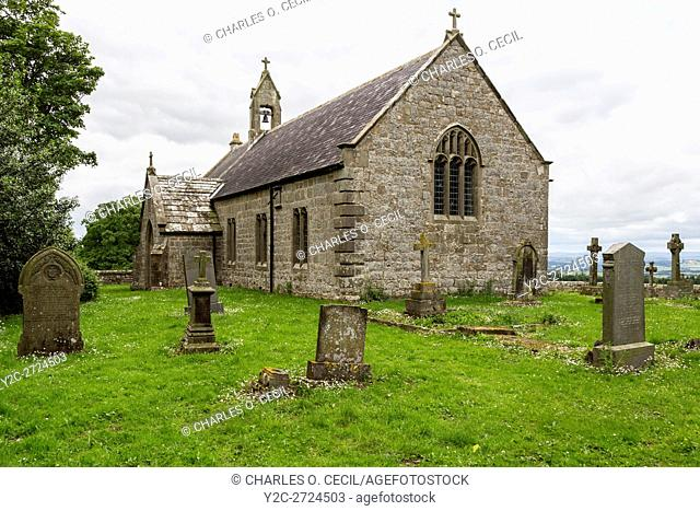 Northumberland, England, UK. St. Oswald's Church (1737 A. D. ), between Turrets 25A and 25B, Hadrian's Wall Footpath, north side of B6318