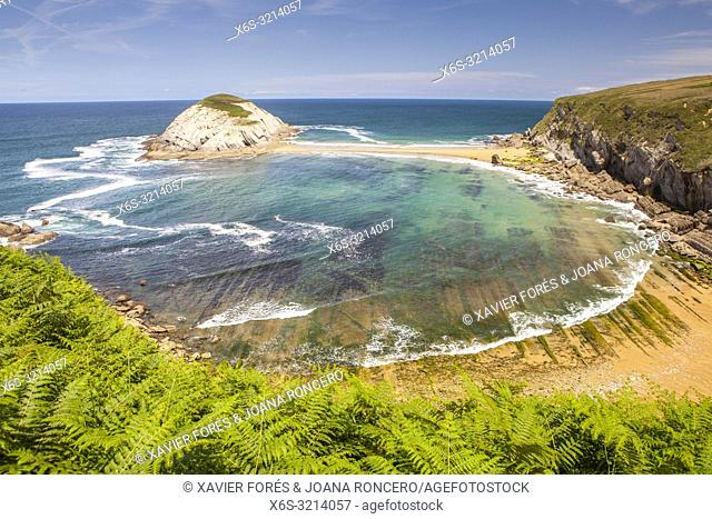 Covachos beach and Castro Island, Liencres, Cantabria, Spain