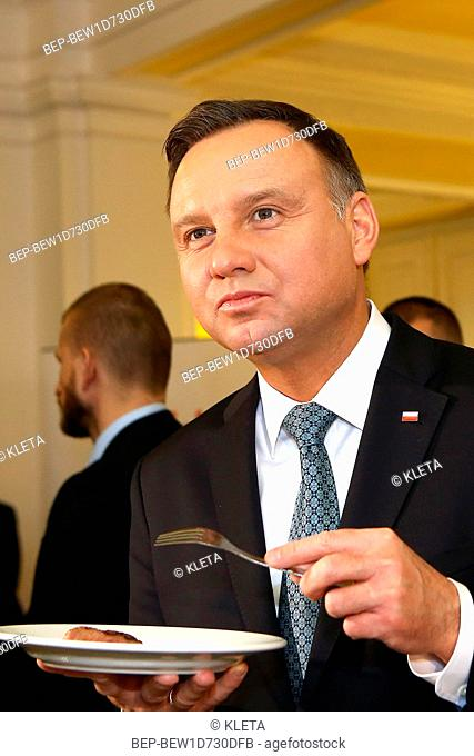 February 20, 2019 Warsaw, Poland. Andrzej Duda during the meeting concering agricultural agreement. Pictured: President of Poland Andrzej Duda