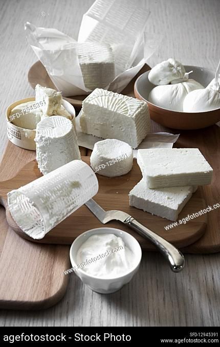 Still life with different types of Italian cheeses