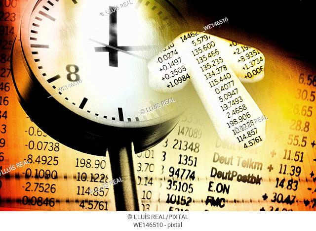 digital composition of a clock with a stock market newspaper on the background