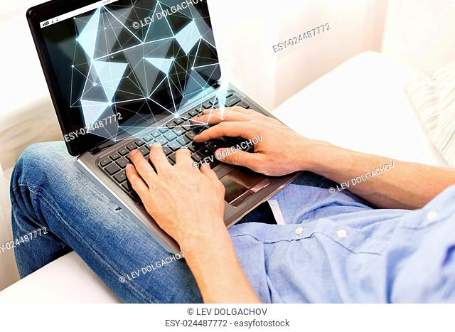 science, cyberspace, people and 3d technology concept - close up of male hands typing on laptop computer with low poly projection at home