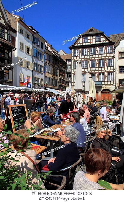 France, Alsace, Strasbourg, street scene, cafe, people