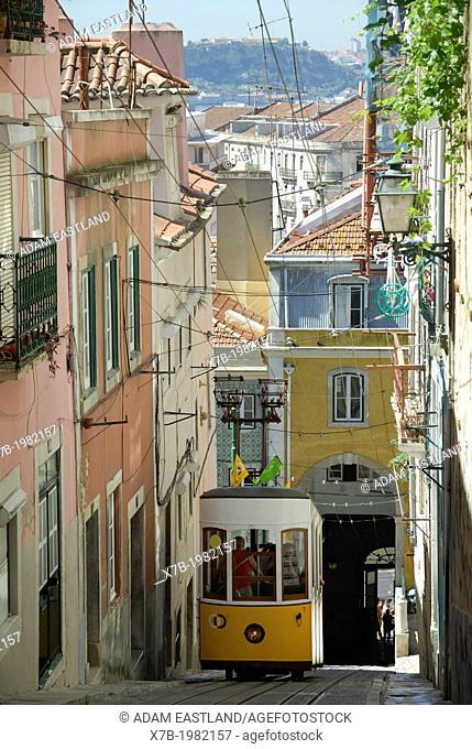 Lisbon. Portugal. Funicular tram Elevador da Bica climbs up to Rua Loreta at the foot of Bairro Alto