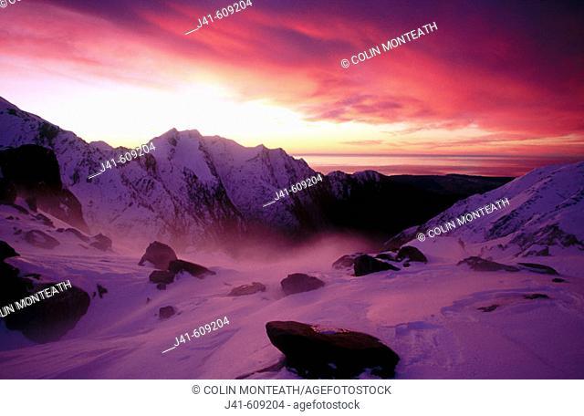 Sunset over Franz Josef Glacier. Westland NP. South Island. New Zealand