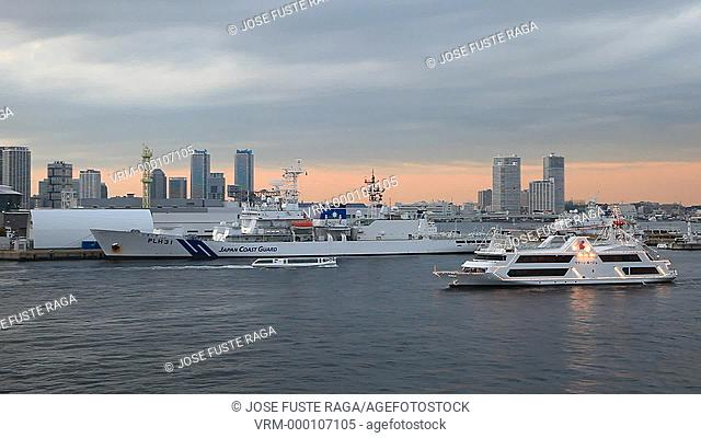 Japan-Yokohama City-Downtown Skyline-Land Mark Bldg. Sunset, Ship landing