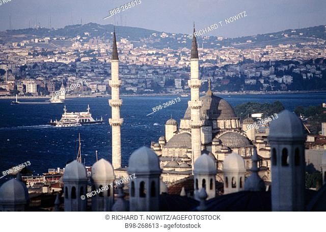 Suleymaniye Mosque over looks Golden Horn, Sea of Marmara to Asia. Istanbul. Turkey