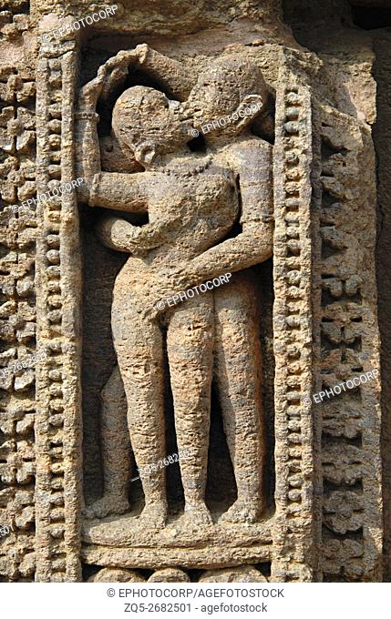 Orissa Konark Sun Temple - Miniature erotic figures on the outer staircase of the dilapitated temple on the south-western side of konarak complex