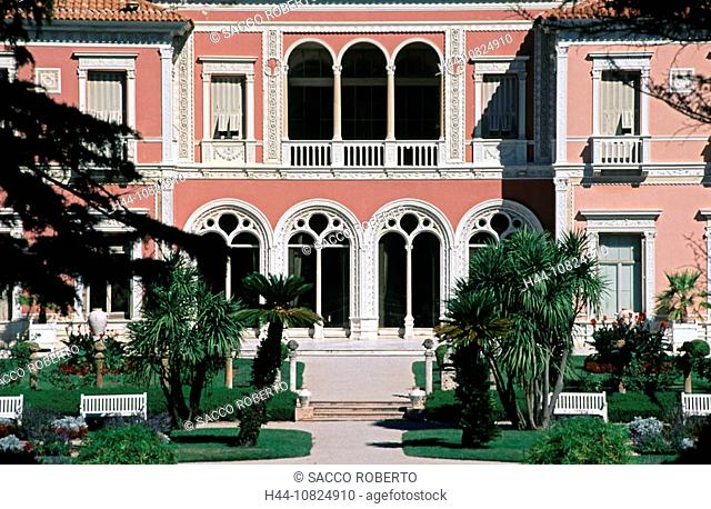 France, Europe, South of France, Cote d'Azur, Cap Ferrat, villa Ephrussi de Rothschild, south view, facade, museum, pa