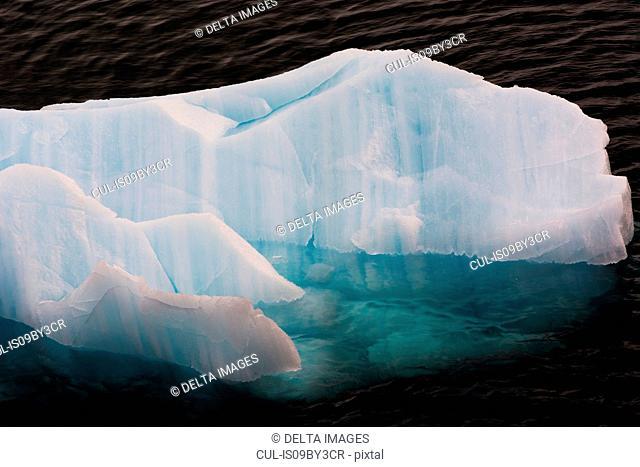 Ice floes, high angle sunlit detail, Erik Eriksenstretet strait separating Kong Karls Land from Nordaustlandet, Svalbard Islands, Norway