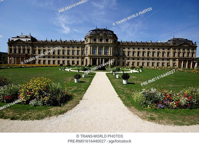 Würzburg Residence, garden front, Würzburg, Lower Franconia, Bavaria, Germany / Würzburger Residenz, Gartenfront, Würzburg, Unterfranken, Bayern, Deutschland
