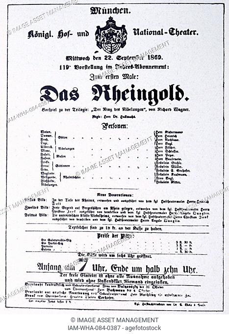 Details from Das Rheingold opera by Richard Wagner (1813-1883) a German composer, theatre director, polemicist, and conductor (1837-1930) Dated 19th Century