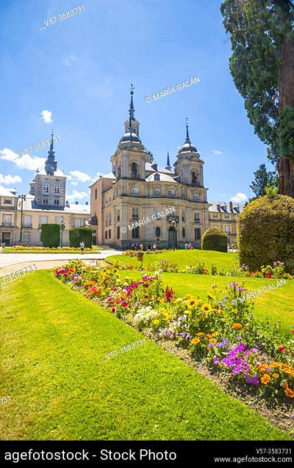 Facade of Colleguate Church. la Granja de san Ildefonso, Segovia province, Castilla Leon, Spain