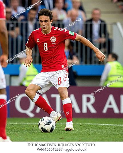 Thomas Delaney (Denmark) on the ball GES / Football / World Championship 2018 Russia: Denmark - 26.06.2018 GES / Soccer / Football / World Cup 2018 Russia:...