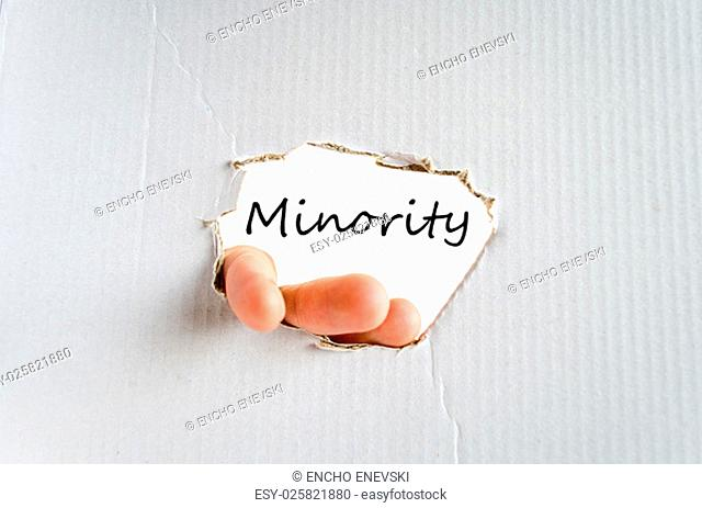 Minority text concept isolated over white background