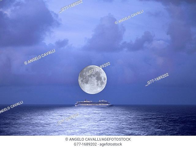 Cruise ship under full moon, Nassau, Bahamas, Caribbean