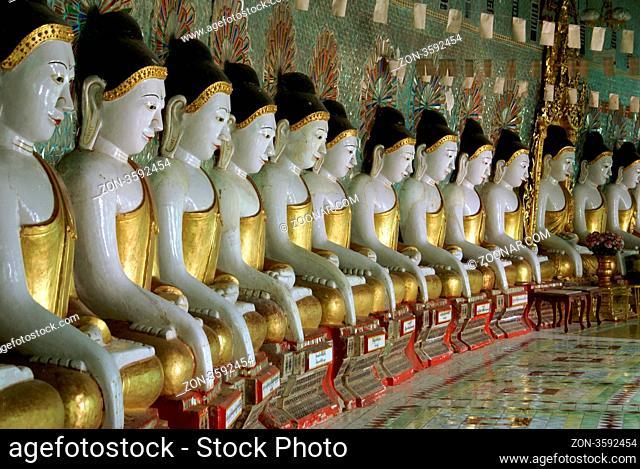 Buddhas on Sagaing hill, Mandalay, Myanmar