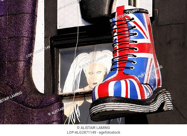 0f927167c94 England, London, Camden. A large model of a Union Jack Dr Martens boot