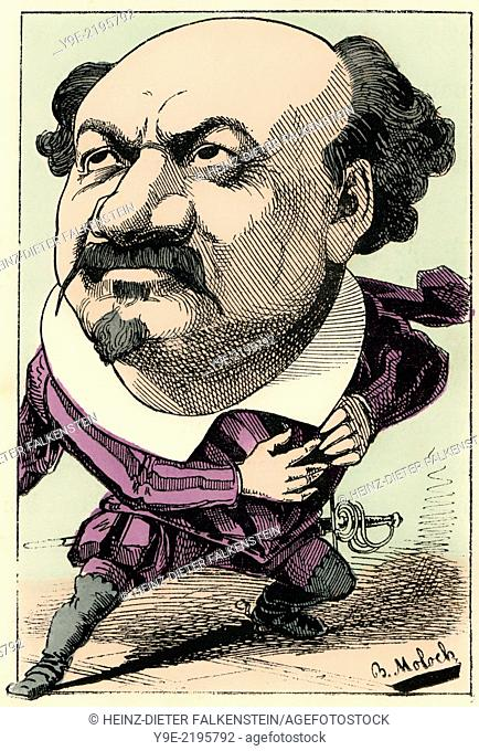 Pierre-François Villaret, 1830-1896, a French tenor, caricature, 1882, by Alphonse Hector Colomb pseudonym B. Moloch, 1849-1909, a French caricaturist