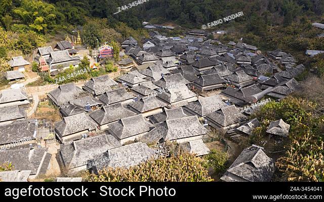 Aerial view of the remote Nuogang Dai village in Lancang, Yunnan - China