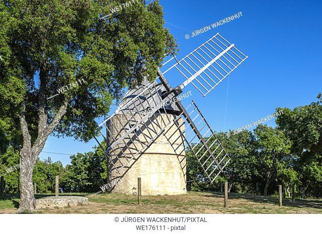 The windmill Paillas, Ramatuelle, Var, Provence-Alpes-Cote d`Azur, France, Europe