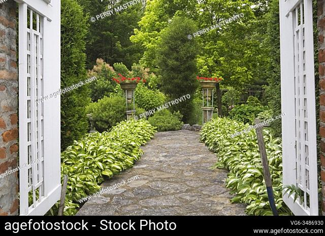 Red brick columns with white wooden opened fence gate and flagstone path bordered by Hosta plants in private backyard formal garden in early summer, Quebec