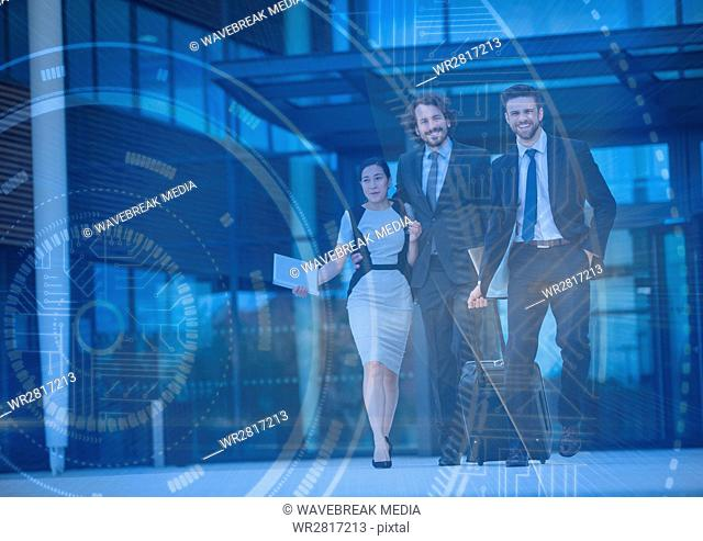 Three business people with luggage and blue interface overlay