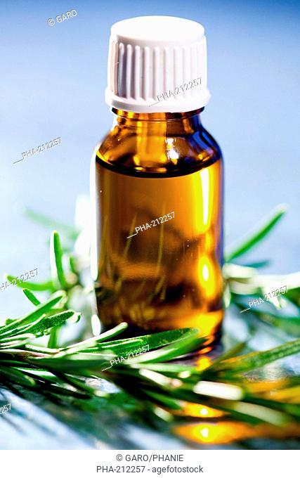 Bottle of rosemary essential oils