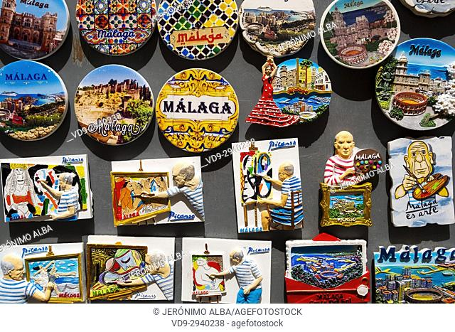 Souvenirs gift shop, Malaga city, Costa del Sol, Andalusia southern Spain, Europe