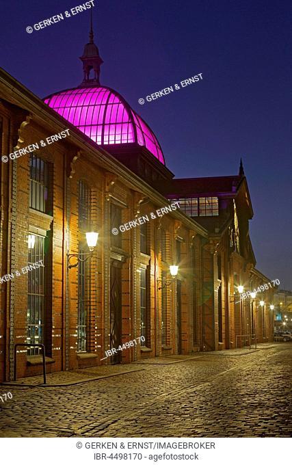 Event Center, former fish auction hall, Altona Fish Market, Night Scene, Altona, Hamburg, Germany