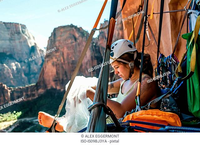 Portaledge sleeping, Zion National Park, Utah, USA