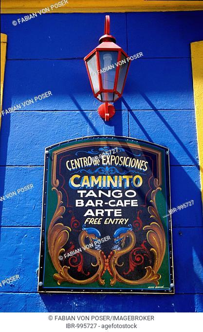 Tango-Bar sign in the tourist alley Caminito in the dockland area La Boca, Buenos Aires, Argentina, South America