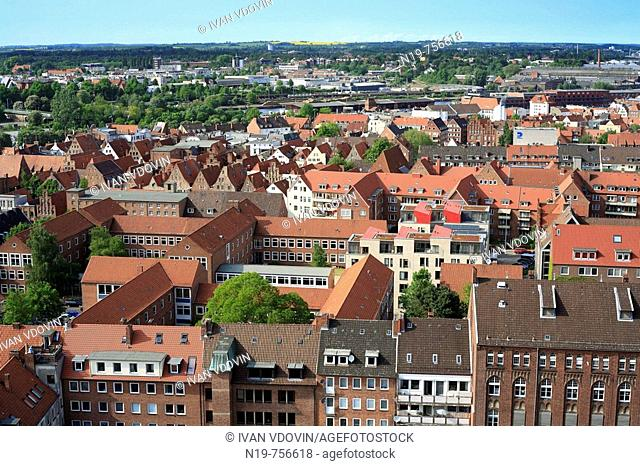 View of city from tower of Church of St. Peter, Lubeck, Schleswig-Holstein, German