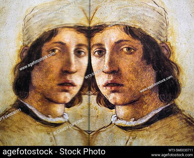 Men in Art, self-portrait of Filippino Lippi painter in the year 1485, . reflected in a mirror