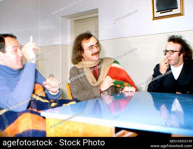 Italian actors and directors Carlo Verdone, Roberto Benigni and Maurizio Nichetti having conversations. 1981
