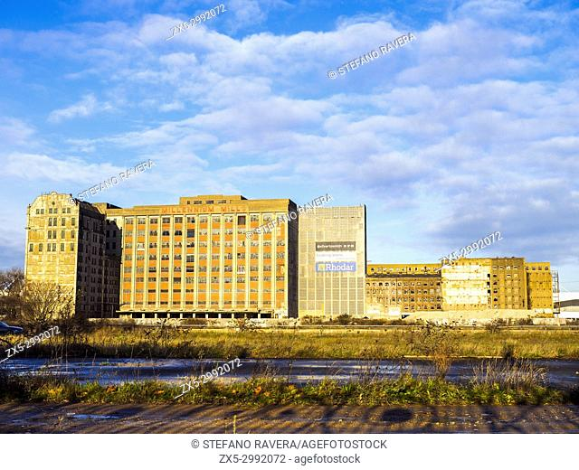 The Millennium Mills is a derelict turn of the 20th century flour mill in West Silvertown on the south side of the Royal Victoria Dock - London, England