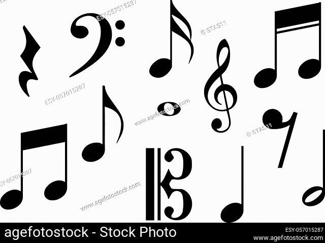 Big set of music notes. Vector illustration