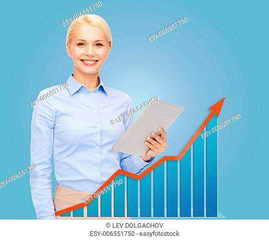 business, people, success, technology and statistics concept - young smiling businesswoman with tablet pc computer over blue background and growth chart