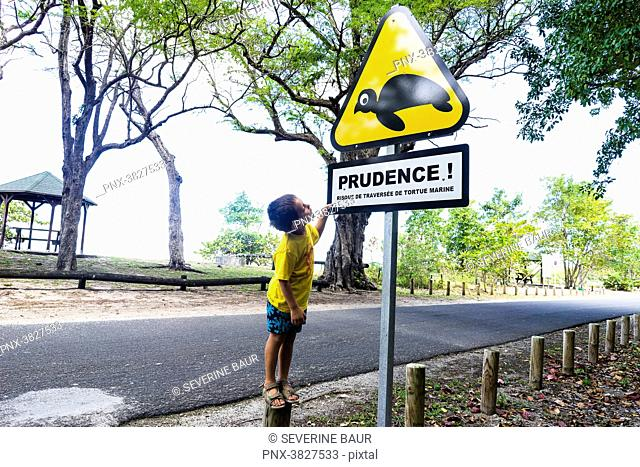 A young kid is loking at a road sign about the presence of marin turtles, Saint-Louis, Marie-Galante, Guadeloupe, France